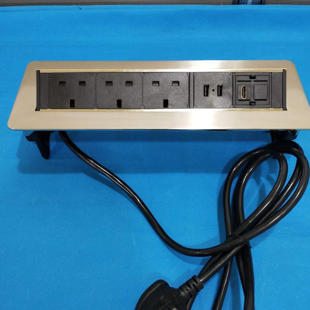Horizontal Hydraulic Pop Up Uk Power Outlet Desk Socket With Usb Port Rj45  Cat6/flip Up Desktop Mounted Office Furniture Socket - Buy Uk Plug Pop Up