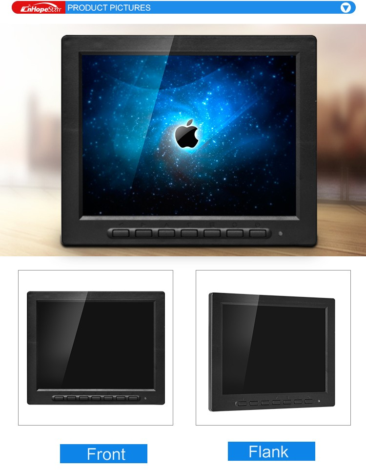 square screen 12 volt dc 8inch small size pc lcd monitor with av input