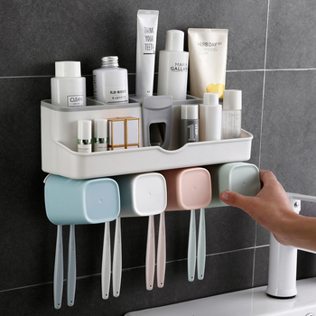 Super sticky wall mounted automatic toothpaste dispenser toothbrush holder