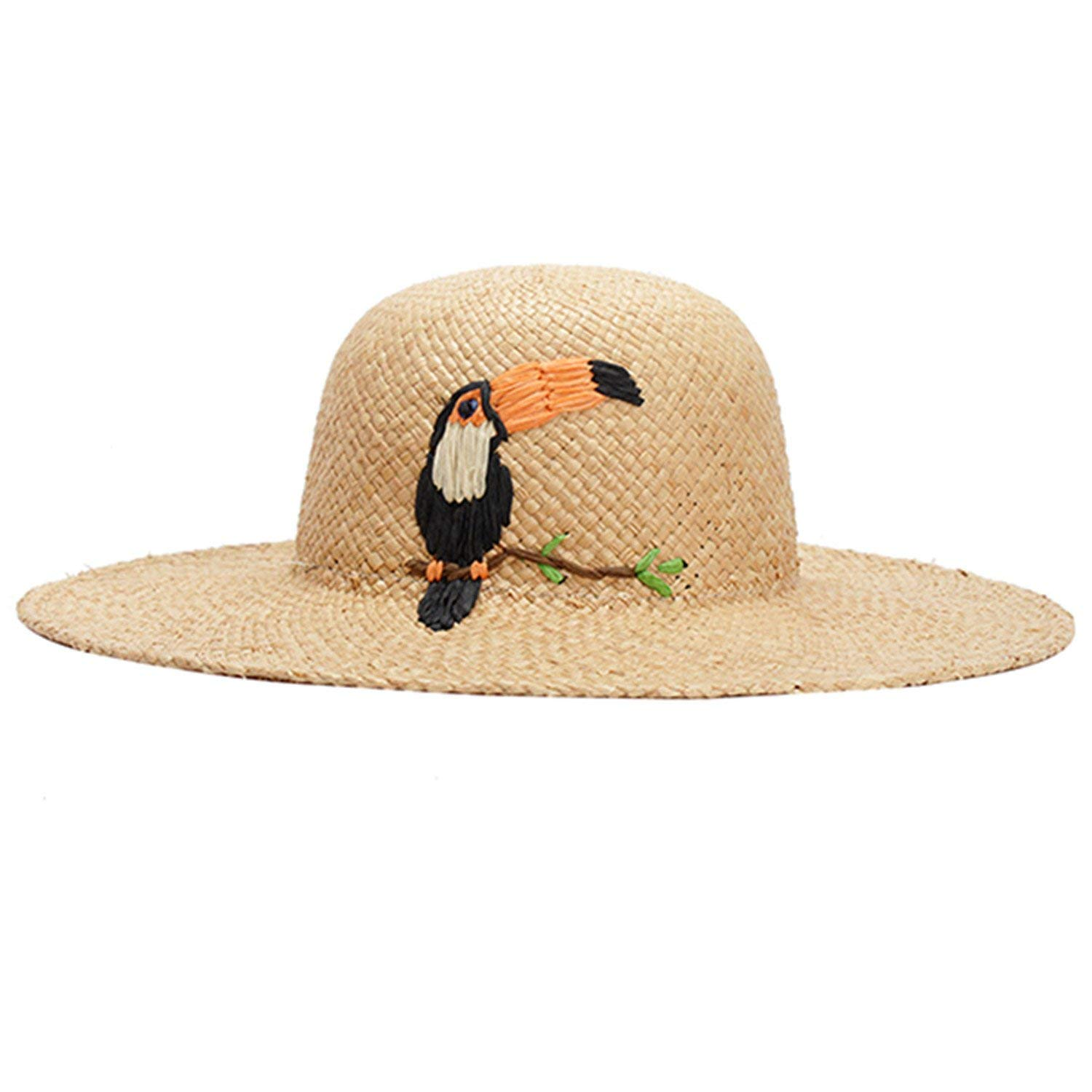 16afe208194d5 Get Quotations · Stephanie Fashion Lady Raffia Straw Hats Embroidery Crow  Animal Pattern Summer Sun Hat for Women Travel