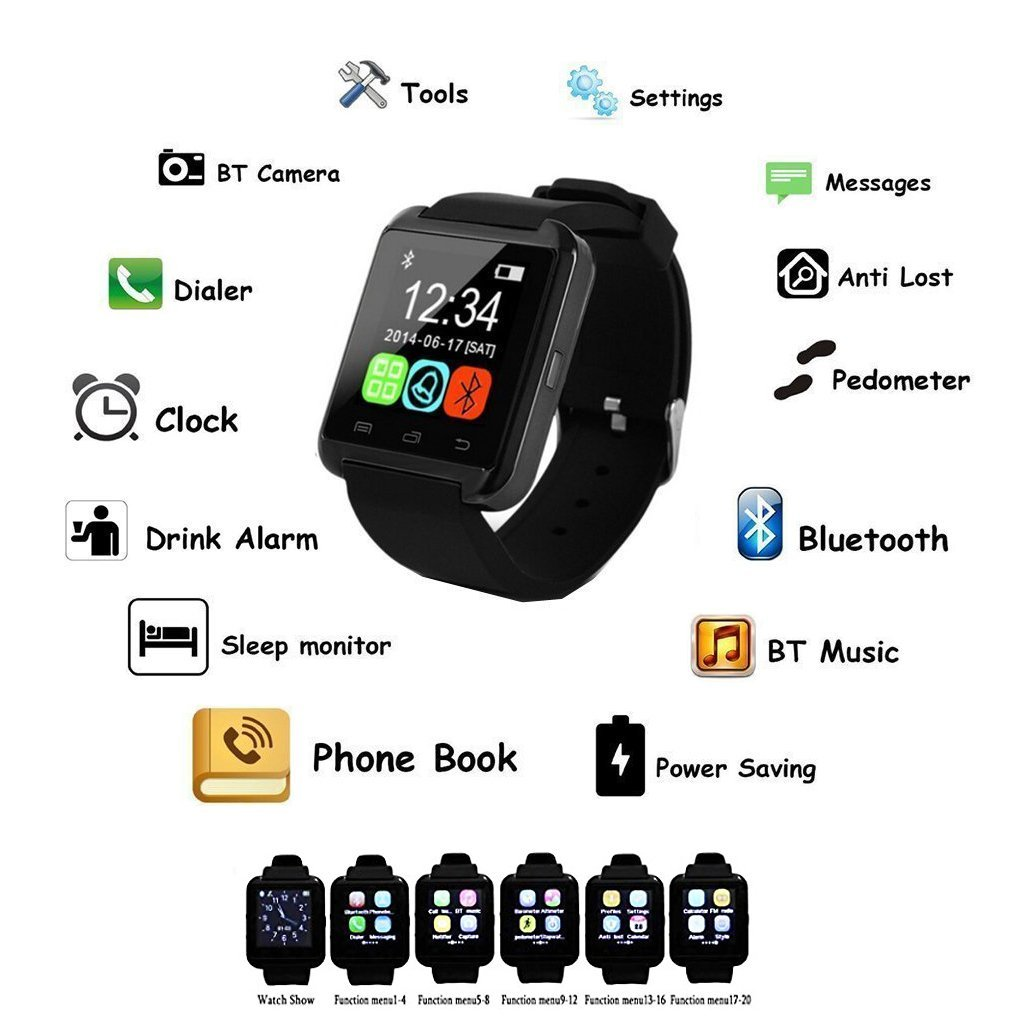 2018 Trending Products u8 Bluetooth Smart Mobile Watch Phones for Woman