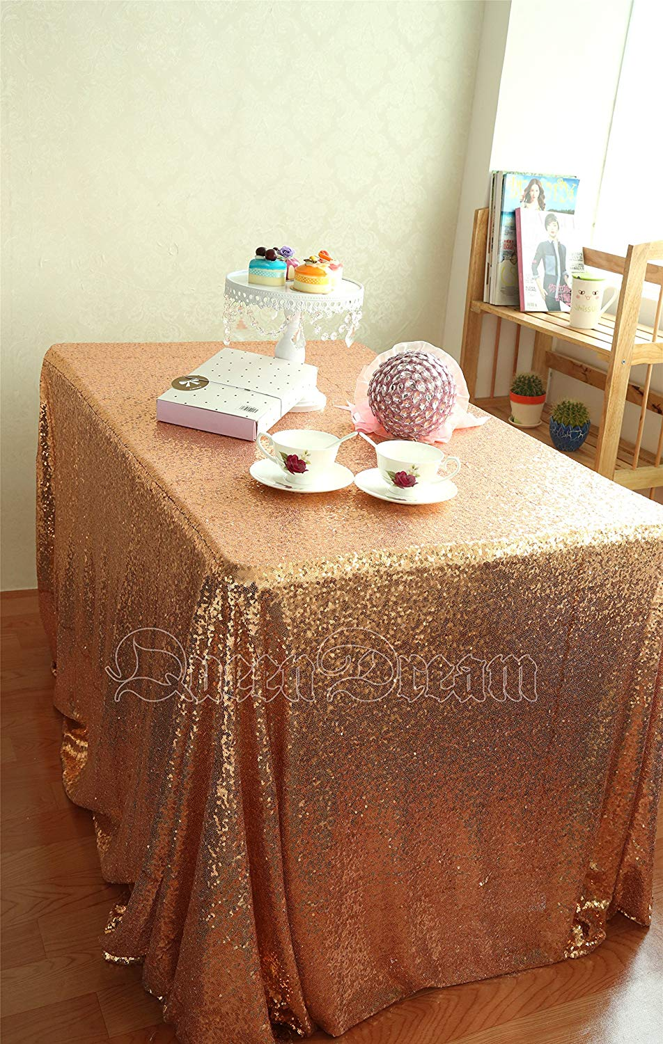 ShinyBeauty 60x102-Inch Sequin Tablecloth Rose Gold Sequin Rectangular Table Cloth For Wedding Party (Rose Gold)