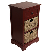 Antiqued 2-basket Chest High Quality Finished Storage Cabinets Unit