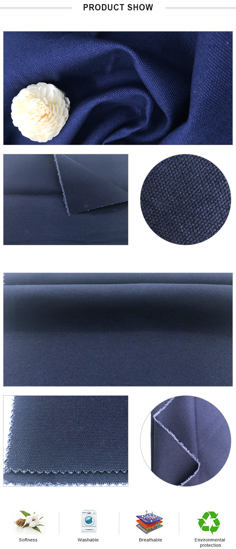 China Supplier 15OZ Waterproof Plain Duck Cotton Canvas Fabric For Travel Bag