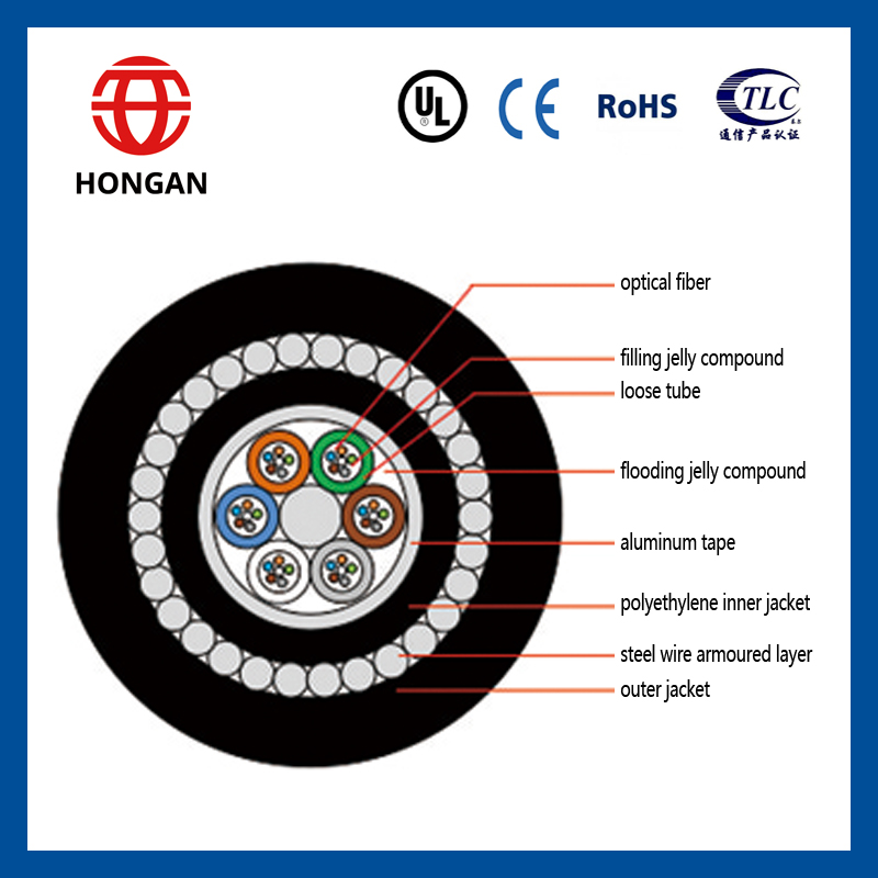 2017 Weihai optical underwater submarine steel wire armored fiber optic cable GYTA33