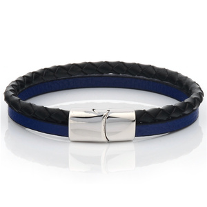 New Fashion Jewelry Genuine Leather Bracelet Bangle Two Layers Simple Jewelry