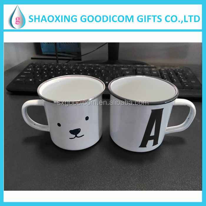 enamel metal mug with stainless steel rim enamel tin material mugs and cups
