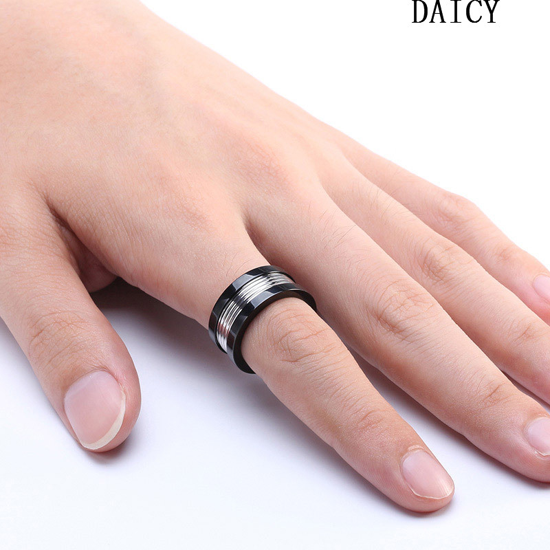 DAICY top quality punk style men's stainless steel thread custom ring