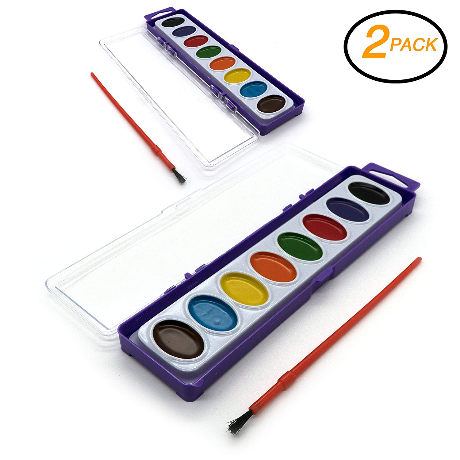 Emraw Assorted 8 Ct Color Washable Paint Easy Take-Off Semi Moist Watercolors with Brush Art Craft Tool - for School & Home (Pack of 2)