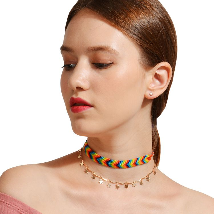 2017 Brazil Bohemia Style Coloful Weave Double Layer Gold Star Hanging Exotic Choker Necklace