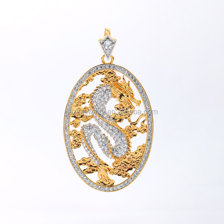 Wholesale Fashion Gold Color AAA Zirconia Chinese Style Dragon <strong>Pendant</strong> For Mens