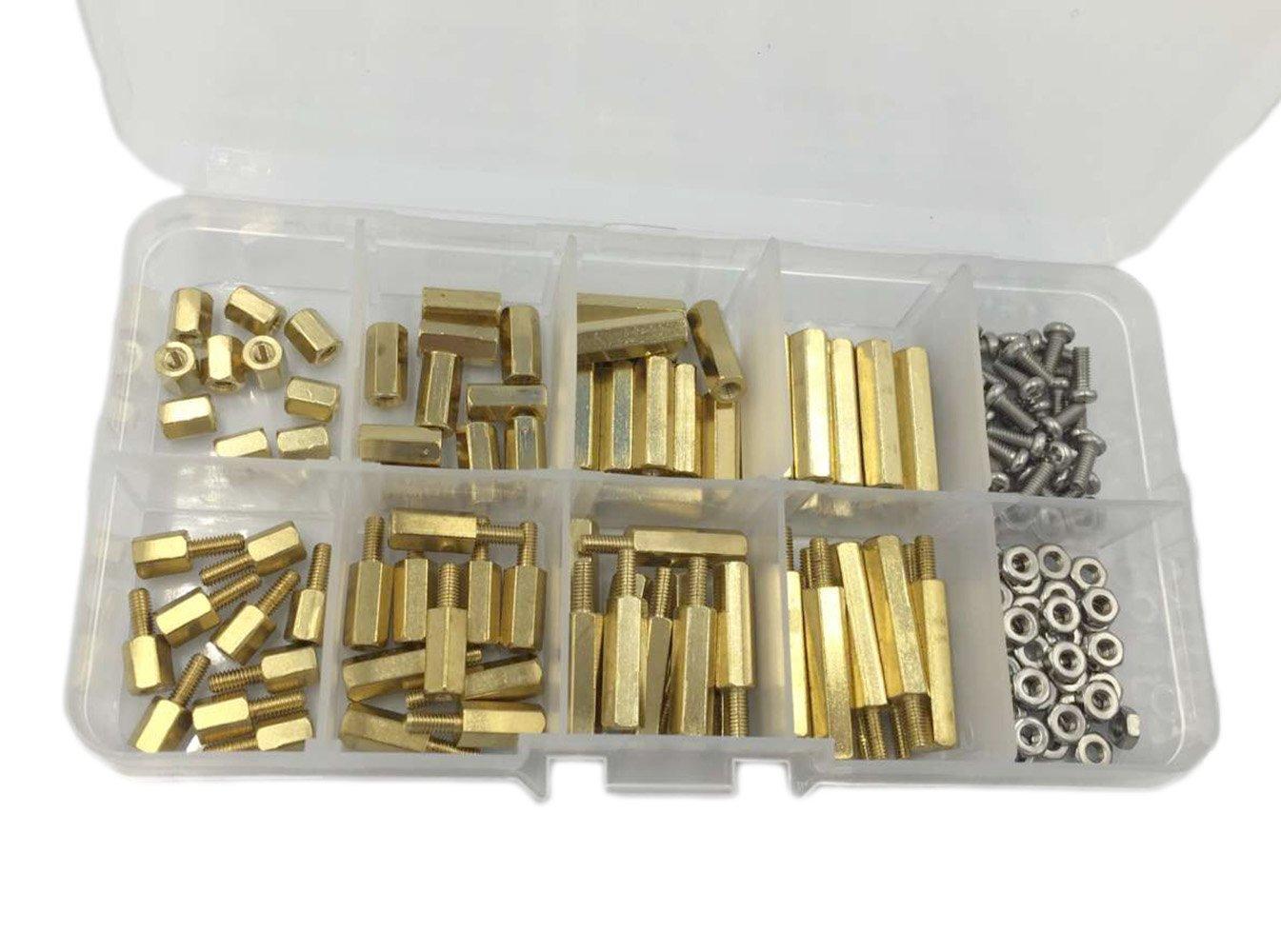 HVAZI 160PCS M2.5 Brass Spacer Standoff/Stainless Steel Screw/Nut Assortment Kit,Male-Female