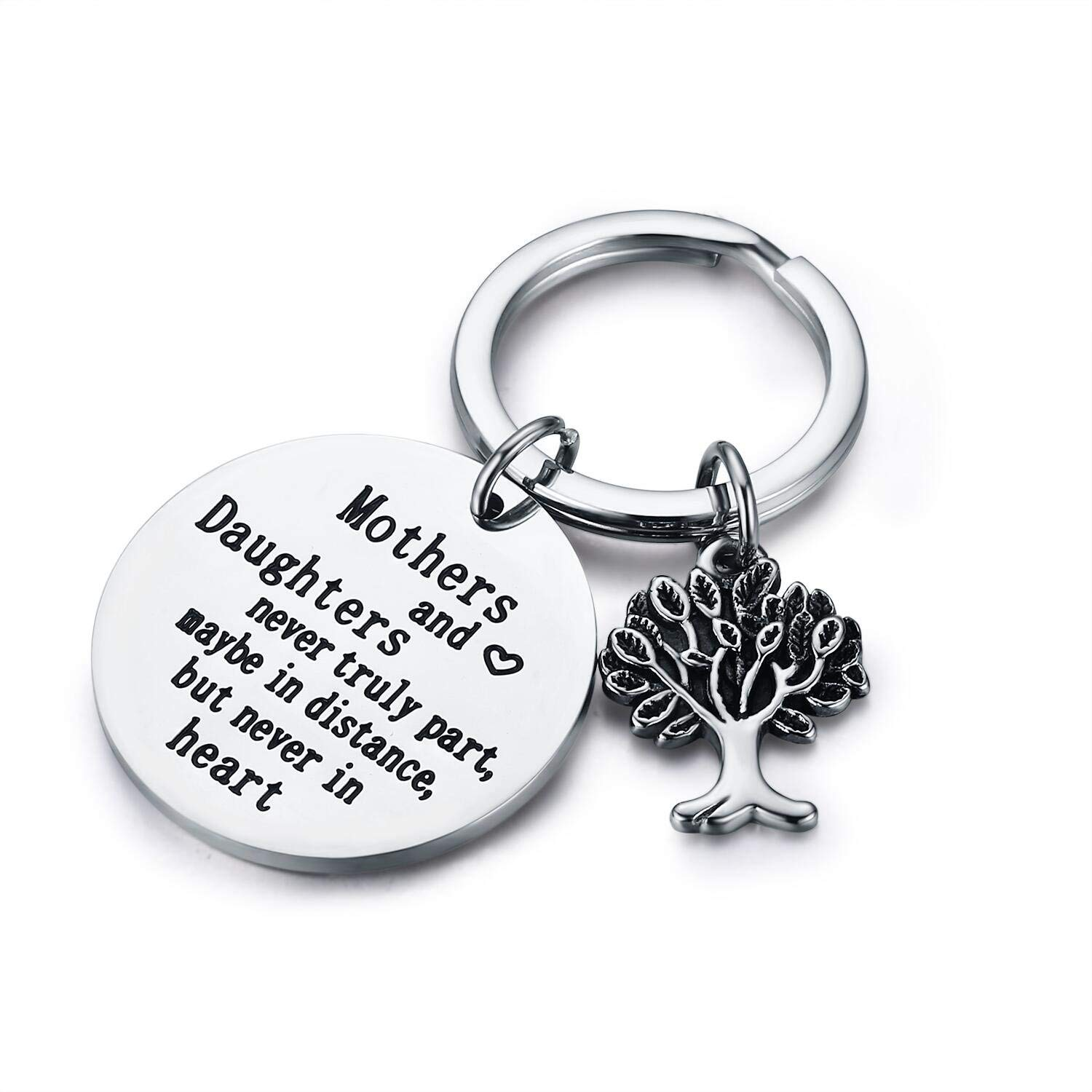 Udobuy Family Tree Keychain Mother Daughter Gift Mothers and Daughters Never Truly Part, Maybe in Distance.Mother Daughter Keychain,Christmas Gifts,Mother's Day Gifts