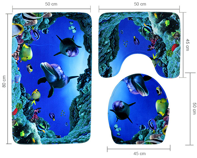 3 pieces set bath Mat Ocean Underwater World Carpet doormat Dolphin fish  printed Toilet Mat for bathroom 3 pcs Bath rugs - us312 c02a5bab4f86c