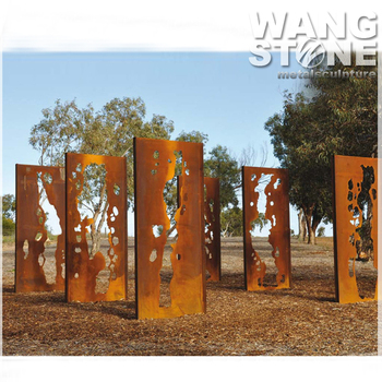 Door Shape Outdoor Laser Cut Corten Steel Garden Art Sculpture