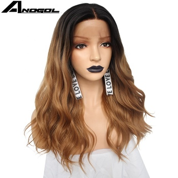 Anogol Futura Synthetic Wig Ombre Brown Lace Front Wig With Dark Root