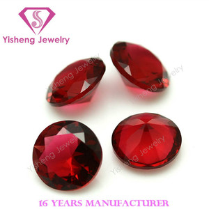 Fancy Red Round Diamond Faceted Cut China Wholesale Glass Gems