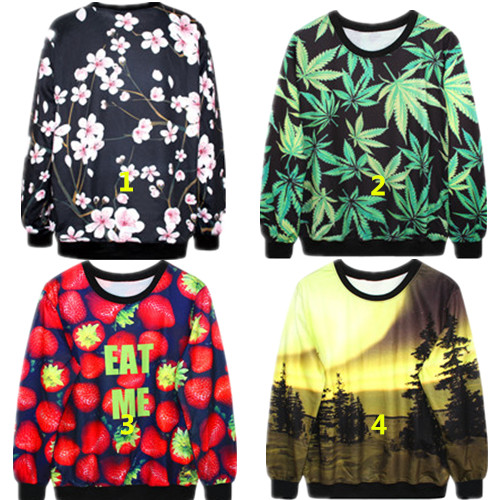 women print full sleeves o-neck 3d floral fashion pullovers sweatshirt