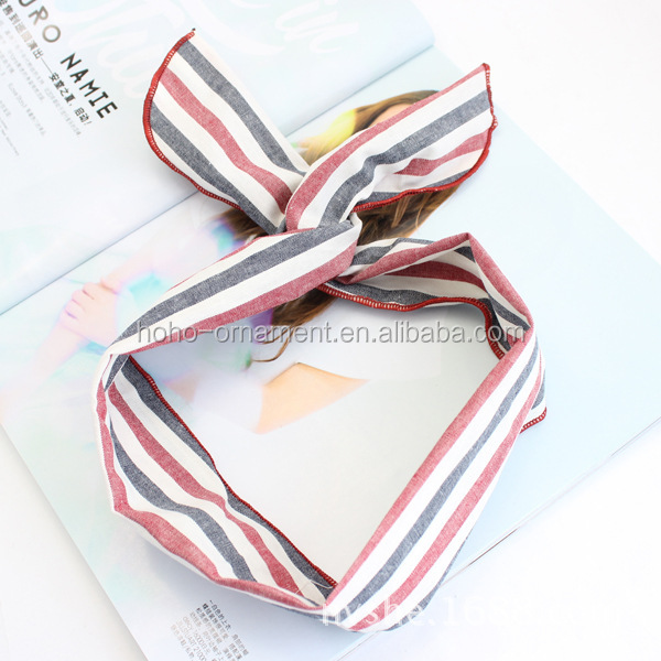 korean stripe fabric cute cat ears facial broad hair band headband