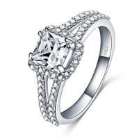 Real Solid 925 Sterling Silver Princess cut Rings for Men Wedding Engagement Ring Fashion Zircon Jewelry