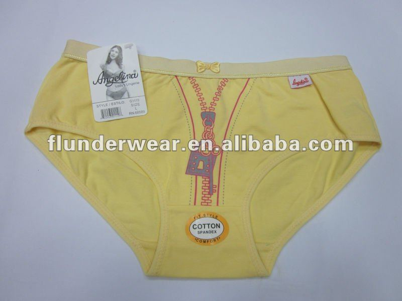ladies panties cotton brief underwear fake zipper 2013