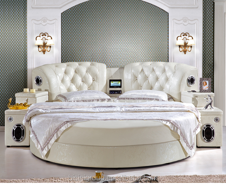 hotel king size round bed with usb player multi functional modern leather bed with built in. Black Bedroom Furniture Sets. Home Design Ideas