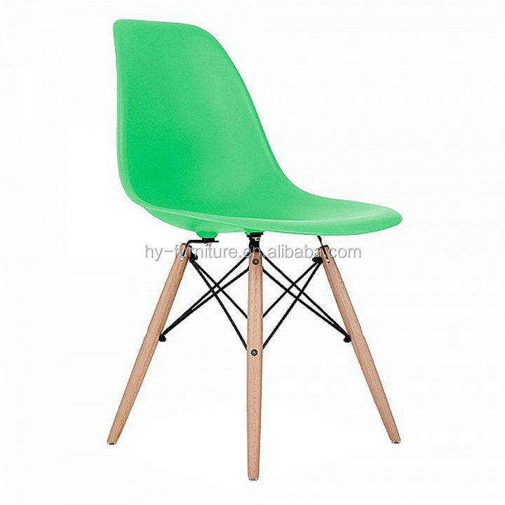 Modern Living Chair - Wood Legs Colorful Plastic Seat
