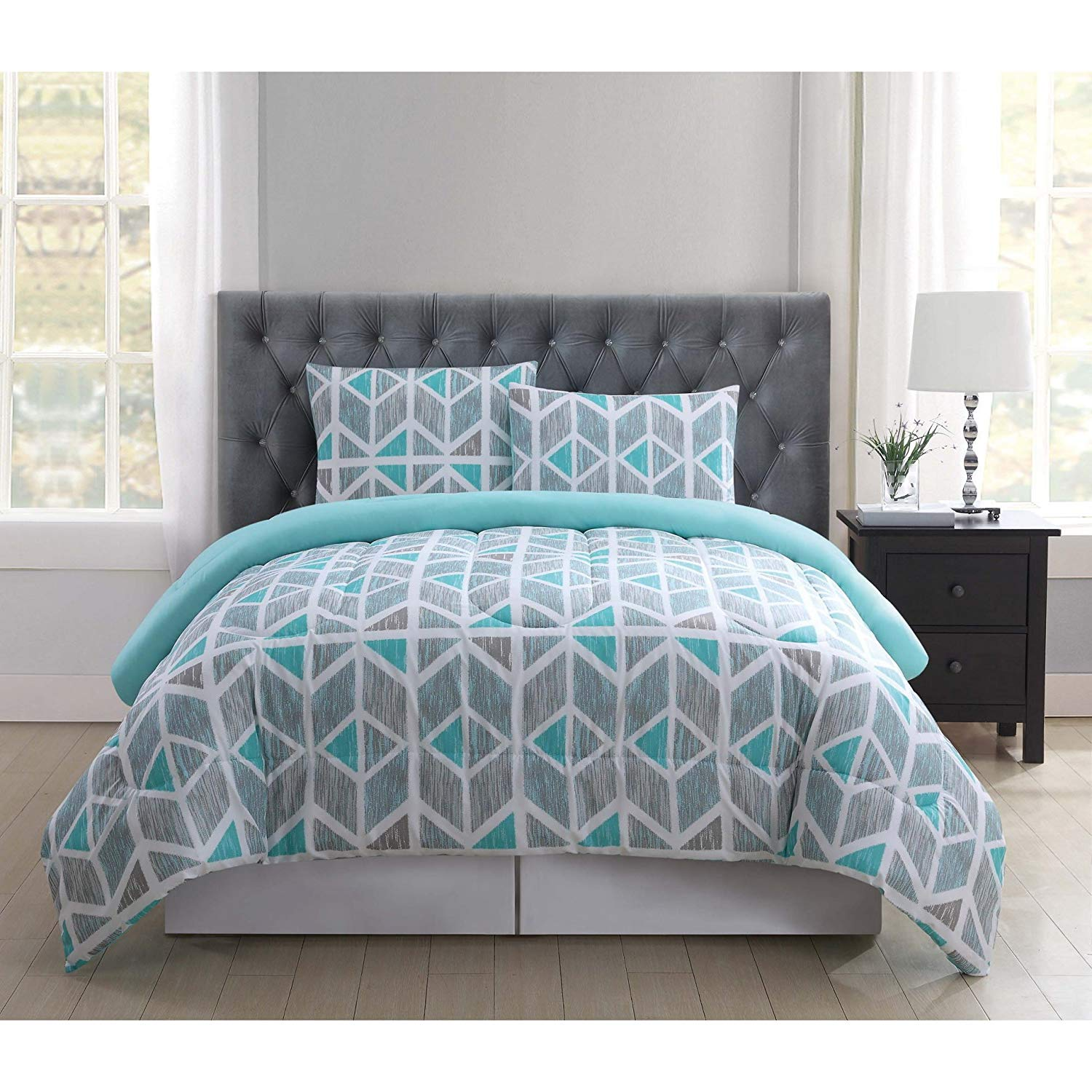 TL 3 Piece Teal Grey White Geometric Triangle Printed Comforter Set King, Blue Gray Graphic Shapes Ikat Pattern Stripes Line Adult Bedding Master Bedroom Casual Colorful Fancy, Polyester
