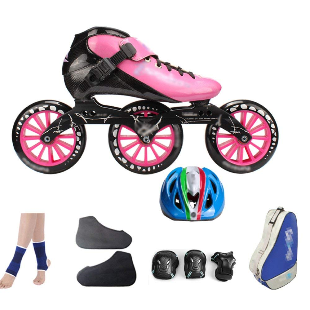 ZCRFY Carbon Fiber Speed Skating Shoes Racing Shoes Professional Adult Children's Large Roller Skating Shoes Roller Skates Inline Roller Skates Pink,PinkE-32