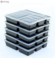 5 Compartments Meal Prep Containers with Airtight lid high quality PP material