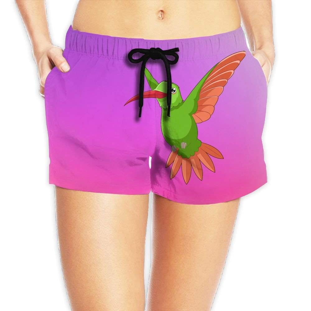 8d5a4f6f3a Get Quotations · Fashionboards Women's Drawstring Cartoon Hummingbird Beach  Board Shorts Swim Trunks