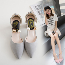 Spring new Korean high heels female thick ring pearl pointed black wild buckle single shoes