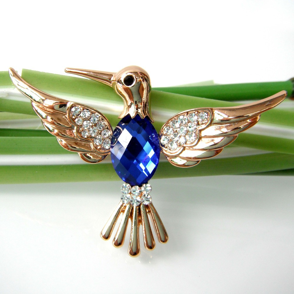 Get Quotations · Bird Hummingbird Trochilus Blue 18k Yellow GP Rhiestone Crystal  Brooch Pin SMT7007