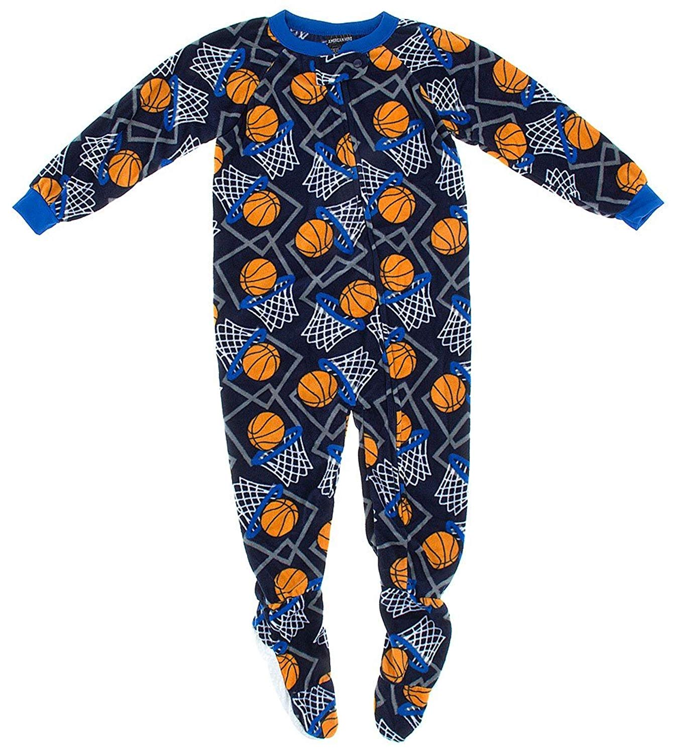 Get Quotations · American Hero Little Boys  Navy Basketball Footed Pajamas 49f0ef14a