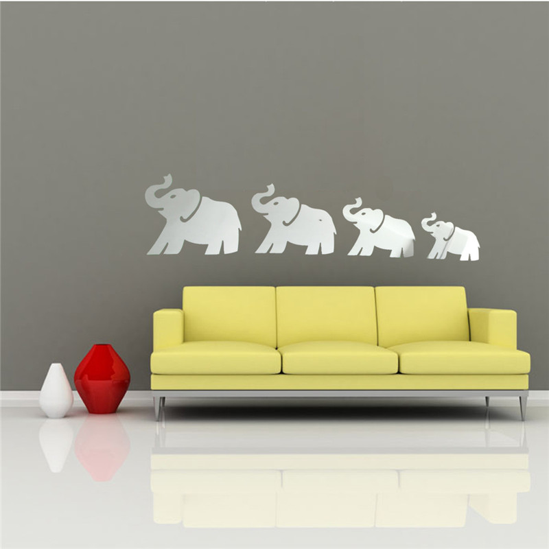 New Arrvial DIY 3D Mirror Four Cute Elephants Wall Stickers Home Decor Art Decal Acrylic Lowest Price