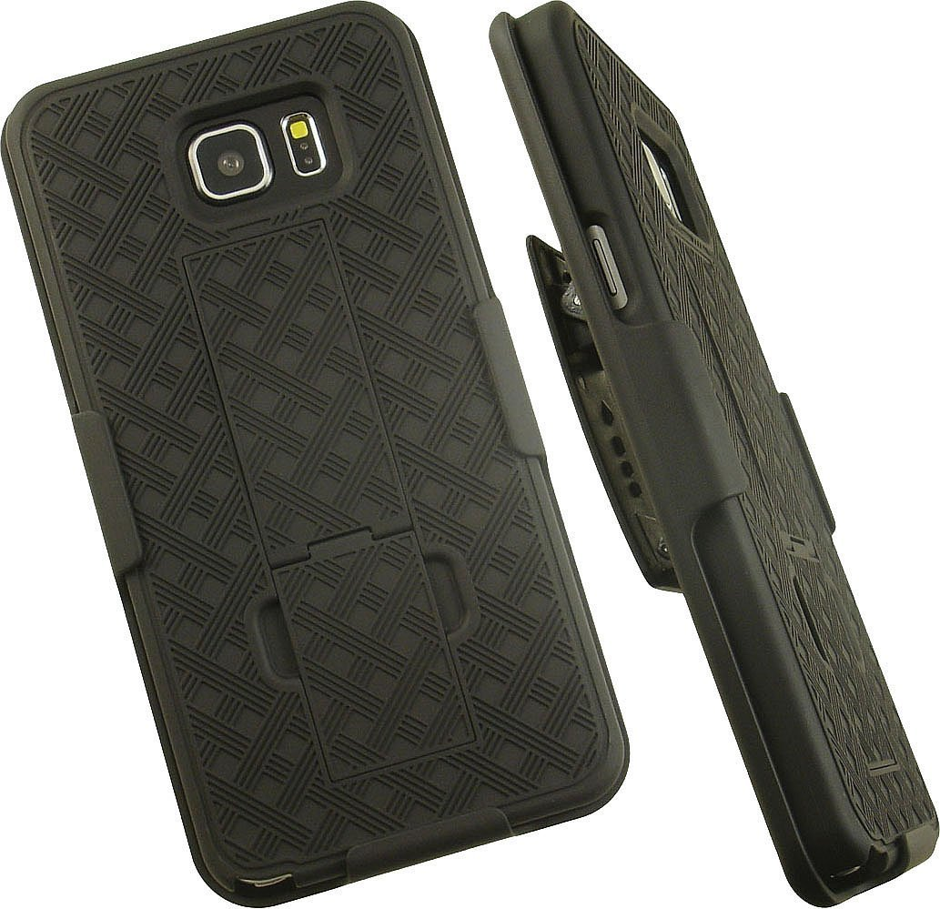 NAKEDCELLPHONE'S BLACK RIBBED WEAVE RUBBERIZED HARD SHELL CASE KCIKSTAND COVER + BELT CLIP HOLSTER STAND FOR SAMSUNG GALAXY NOTE 5 PHONE (SM-N920, N920V, N920A, N920R4, N920T, N920I, N920A)