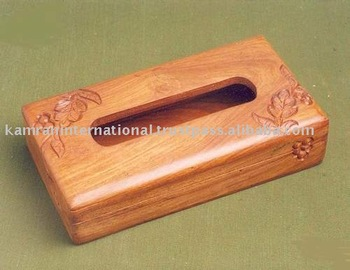 Wooden Tissue Paper Box Carved Rectangular Refillable