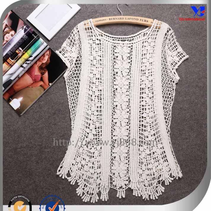 sexy 2014 hermoso diseño de invierno dama blusa crochet-Camisetas ...