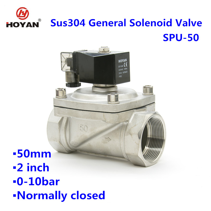 SPU-50 Direct type high quality top seller Stainless steel 2 inch water solenoid valve