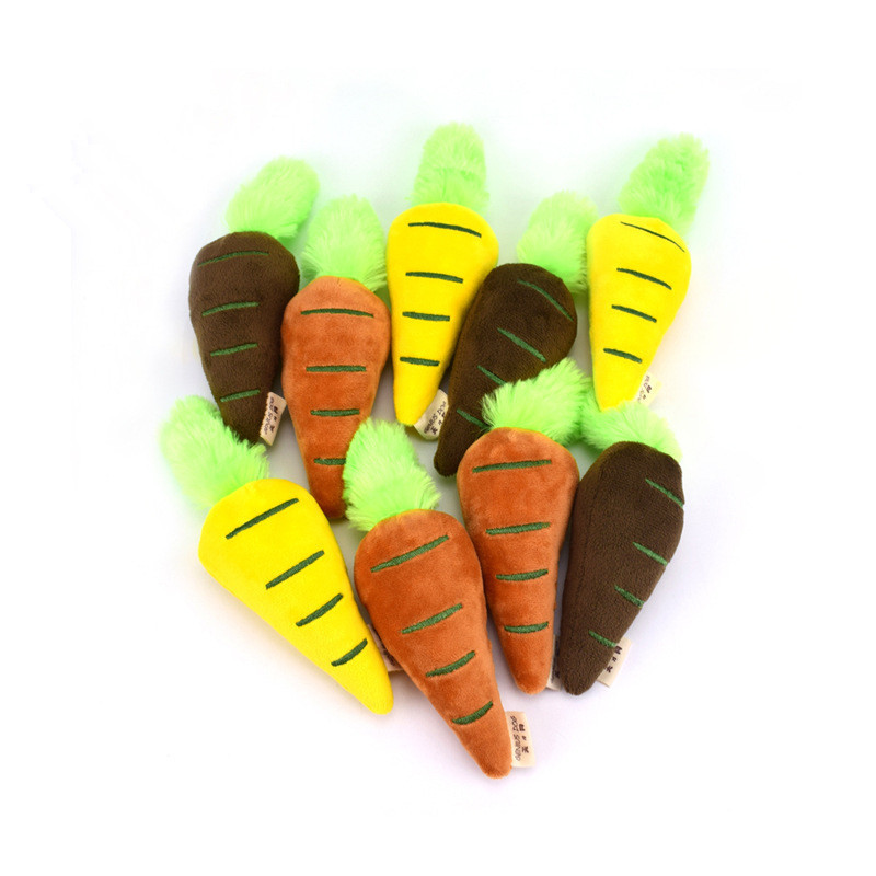 Hot Selling Vegetable Pet Plush Different Color Carrot Vocal Fruit Dog Voice Toy