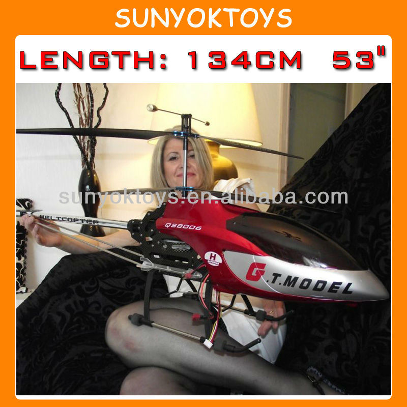 "134CM 53"" Extra Large GT QS8006 2 Speed 3.5 Ch RC Helicopter Builtin GYRO, Helicopters Toy For Adult"