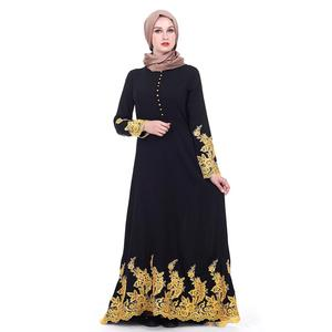 Zakiyyah Z180504 New Arrival Printing Golden Embroidery Chiffon Black Abaya Long Sleeves Muslim Dress Wholesale