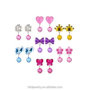 Cute Girls Earrings Crystal Drop Clip on Earrings Girls Princess Jewelry Flower Bow Butterfly Crown Earring