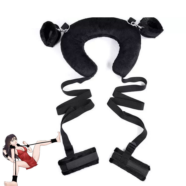 Pillow Protect Neck Open Leg Bind Belt Bed Slave Restraints Handcuffs Kit Sex Bondage Toys Adult Products