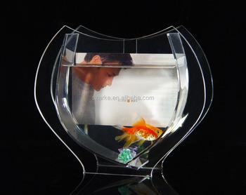 Customized Diffe Shape Design Desktop Mini Clear Acrylic Fish Aquarium Tank Bowl With Back