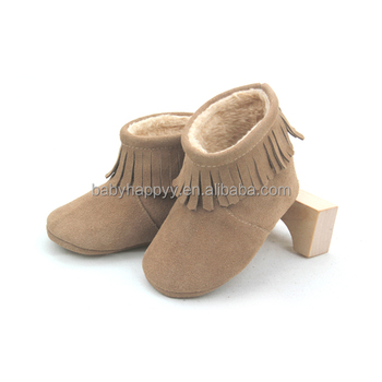 Wholesale fashion tassel baby unisex kids shoes leather baby booties 10e070393e05