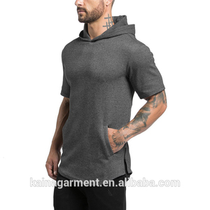Free sample fitness gym wear breathable cotton men's short sleeve hoodie