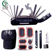 Multifunctional Bike Repair Tool Kits, 16 in 1 Multifunction Bicycle Mechanic Fix Tools Set Bag with Tire Patch Levers