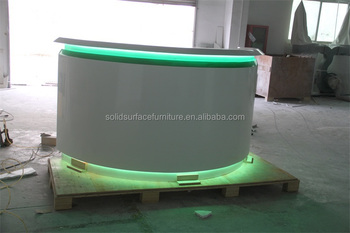 top quality free custom service led lighted acrylic solid surface semi circle reception counter design acrylic lighted reception desk reception counter design