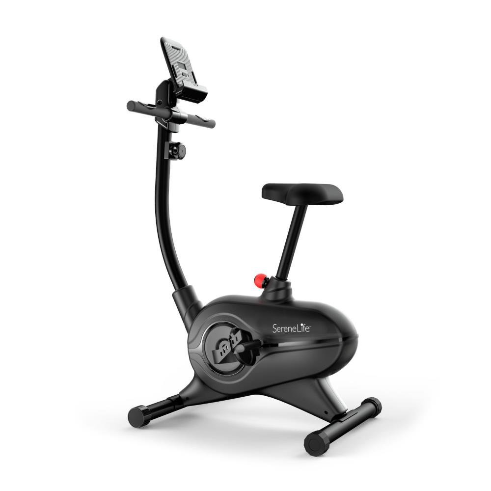SereneLife Exercise Bike   Upright Stationary Bicycle Cardio Cycle Pedal  Trainer Fitness Machine Equipment With Digital